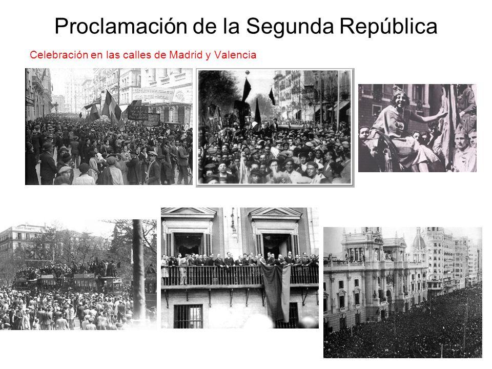 Proclamación de la Segunda República Celebración en las calles de Madrid y Valencia
