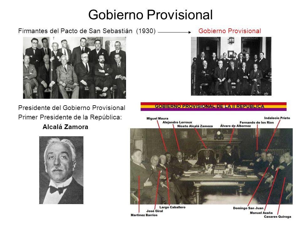Gobierno Provisional Firmantes del Pacto de San Sebastián (1930) Gobierno Provisional Presidente del Gobierno Provisional Primer Presidente de la Repú