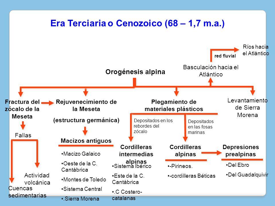 Rejuvenecimiento de la Meseta (estructura germánica) red fluvial Del Ebro Del Guadalquivir -Pirineos. -cordilleras Béticas Sistema Ibérico Este de la