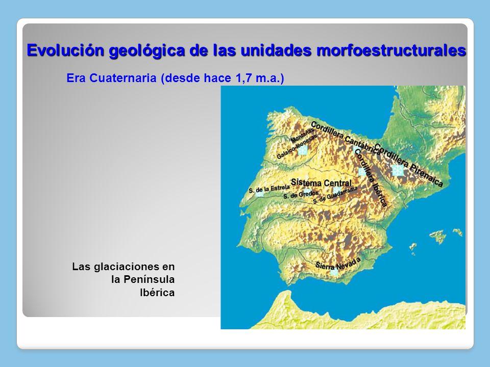 Era Cuaternaria (desde hace 1,7 m.a.) Evolución geológica de las unidades morfoestructurales Evolución geológica de las unidades morfoestructurales La