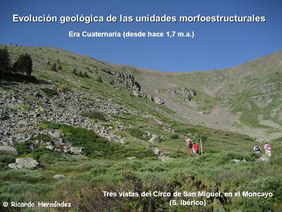 Tres vistas del Circo de San Miguel, en el Moncayo (S. Ibérico) Era Cuaternaria (desde hace 1,7 m.a.) Evolución geológica de las unidades morfoestruct