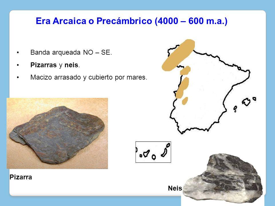 Banda arqueada NO – SE. Pizarras y neis. Macizo arrasado y cubierto por mares. Neis Pizarra Era Arcaica o Precámbrico (4000 – 600 m.a.)