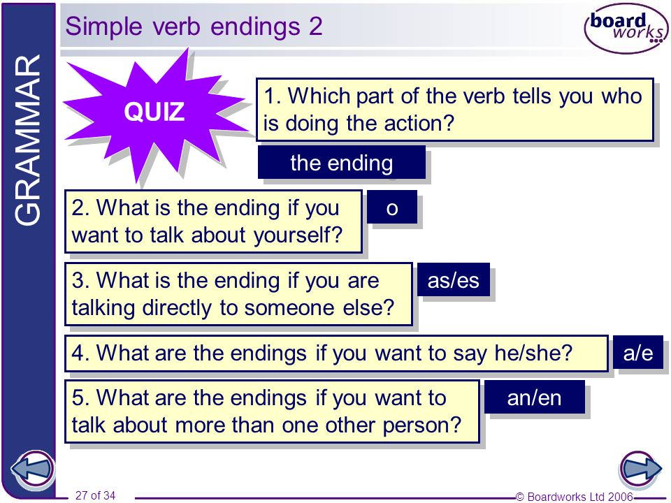 © Boardworks Ltd 2006 27 of 34 GRAMMAR 1. Which part of the verb tells you who is doing the action? QUIZ 2. What is the ending if you want to talk abo