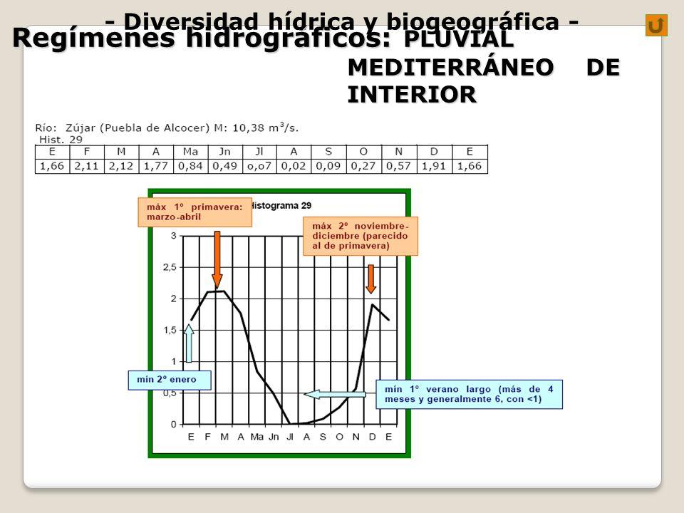 - Diversidad hídrica y biogeográfica - Regímenes hidrográficos: PLUVIAL MEDITERRÁNEO DE INTERIOR
