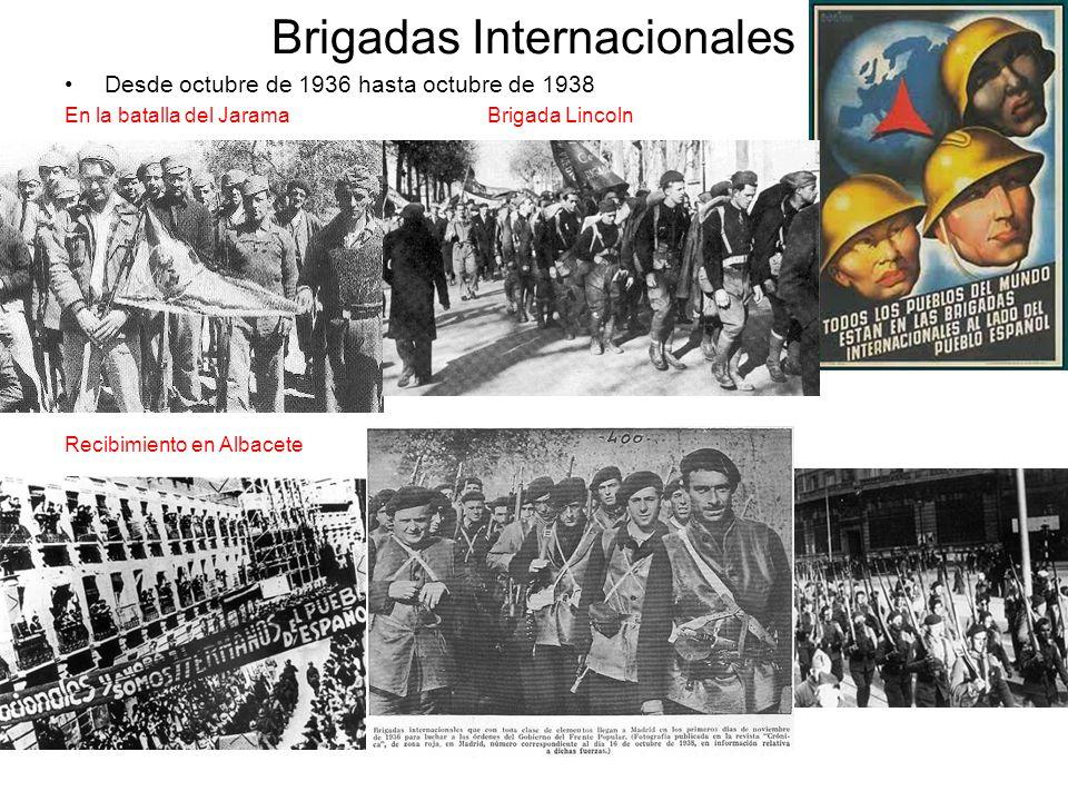 Brigadas Internacionales Desde octubre de 1936 hasta octubre de 1938 En la batalla del Jarama Brigada Lincoln Recibimiento en Albacete