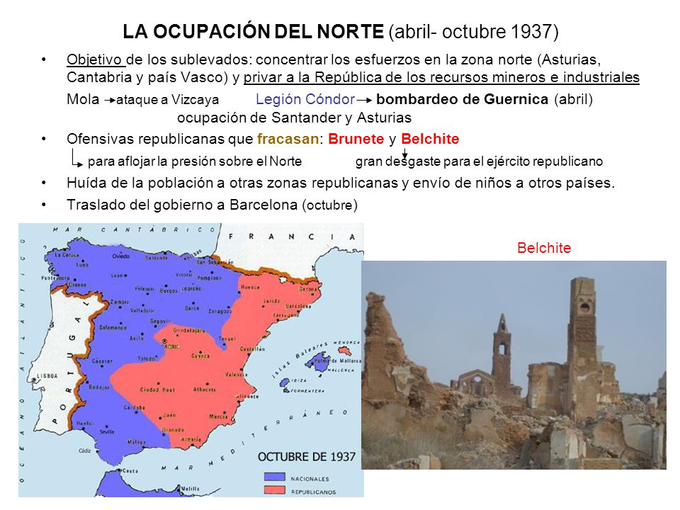 LA OCUPACIÓN DEL NORTE (abril- octubre 1937) Objetivo de los sublevados: concentrar los esfuerzos en la zona norte (Asturias, Cantabria y país Vasco)