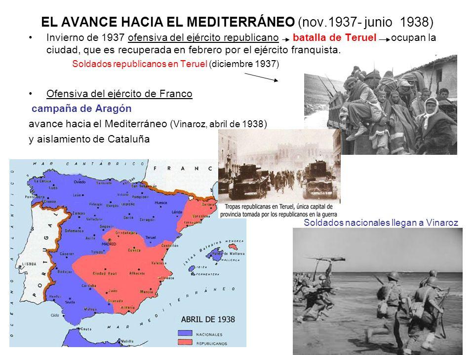 EL AVANCE HACIA EL MEDITERRÁNEO (nov.1937- junio 1938) Invierno de 1937 ofensiva del ejército republicano batalla de Teruel ocupan la ciudad, que es r
