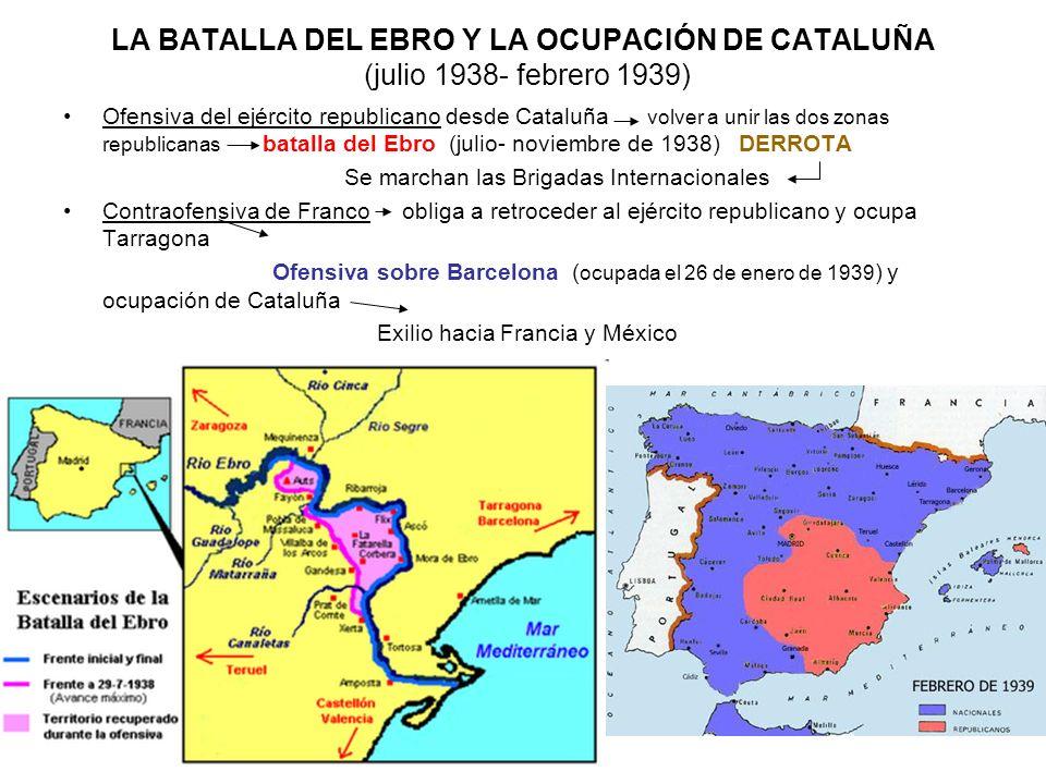 LA BATALLA DEL EBRO Y LA OCUPACIÓN DE CATALUÑA (julio 1938- febrero 1939) Ofensiva del ejército republicano desde Cataluña volver a unir las dos zonas