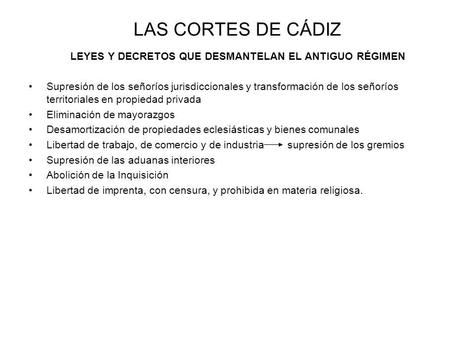 LAS CORTES DE CÁDIZ LEYES Y DECRETOS QUE DESMANTELAN EL ANTIGUO RÉGIMEN Supresión de los señoríos jurisdiccionales y transformación de los señoríos te