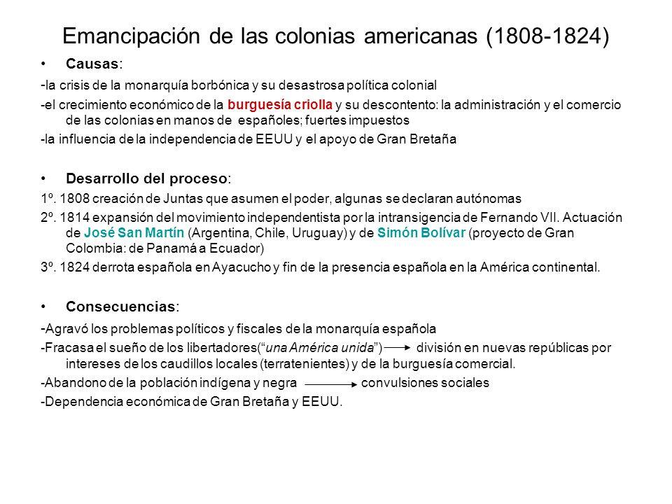 Emancipación de las colonias americanas (1808-1824) Causas: - la crisis de la monarquía borbónica y su desastrosa política colonial -el crecimiento ec