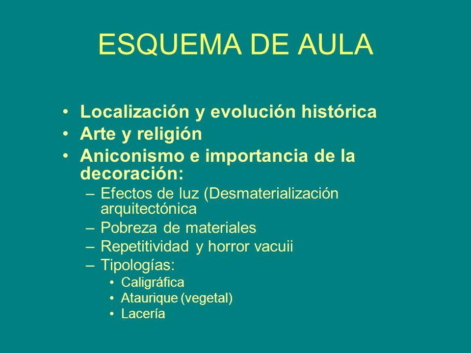 Localización y evolución histórica Arte y religión Aniconismo e importancia de la decoración: –Efectos de luz (Desmaterialización arquitectónica –Pobr