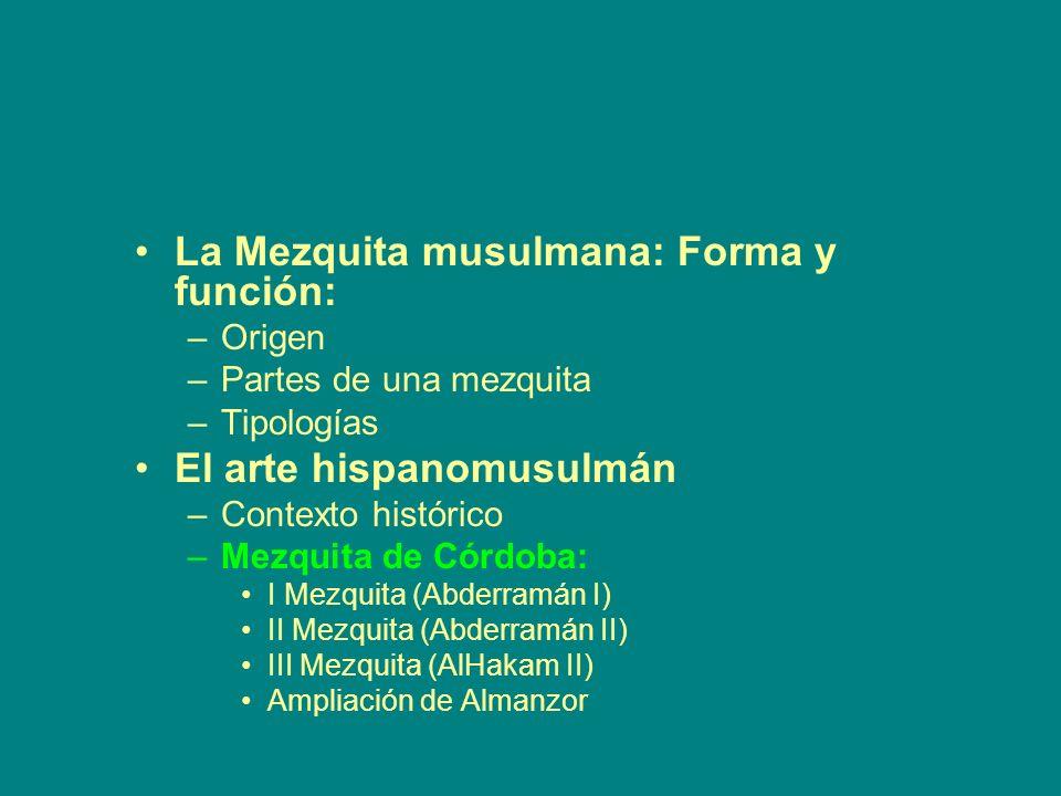 La Mezquita musulmana: Forma y función: –Origen –Partes de una mezquita –Tipologías El arte hispanomusulmán –Contexto histórico –Mezquita de Córdoba: