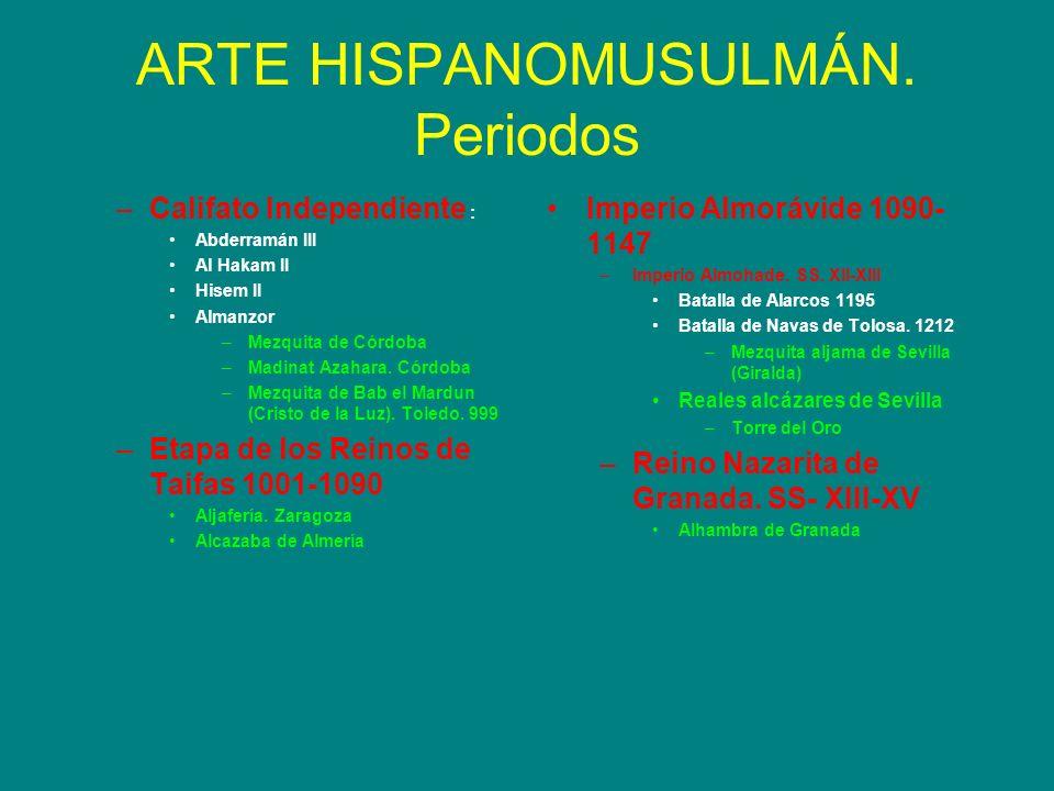 ARTE HISPANOMUSULMÁN. Periodos –Califato Independiente : Abderramán III Al Hakam II Hisem II Almanzor –Mezquita de Córdoba –Madinat Azahara. Córdoba –