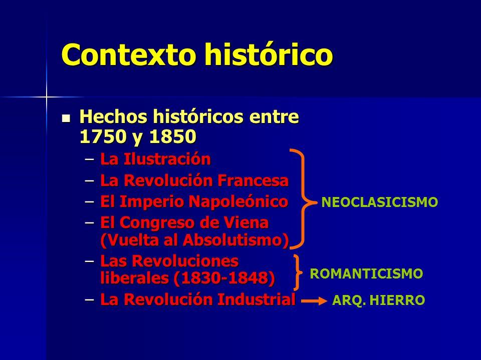 Contexto histórico Hechos históricos entre 1750 y 1850 –L–L–L–La Ilustración –L–L–L–La Revolución Francesa –E–E–E–El Imperio Napoleónico –E–E–E–El Congreso de Viena (Vuelta al Absolutismo) –L–L–L–Las Revoluciones liberales (1830-1848) –L–L–L–La Revolución Industrial NEOCLASICISMO ROMANTICISMO ARQ.