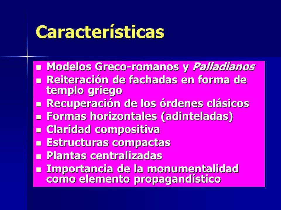 Características Modelos Greco-romanos y Palladianos Modelos Greco-romanos y Palladianos Reiteración de fachadas en forma de templo griego Reiteración