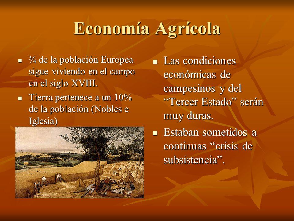 Economía Agrícola ¾ de la población Europea sigue viviendo en el campo en el siglo XVIII. ¾ de la población Europea sigue viviendo en el campo en el s
