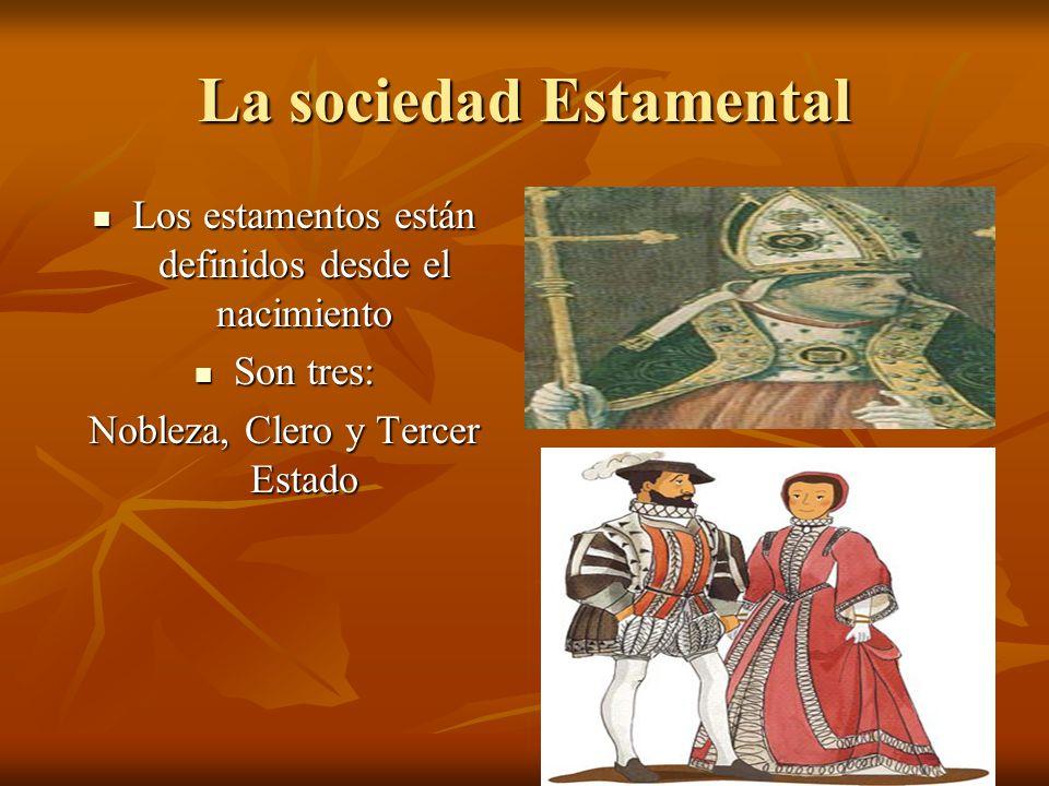 La sociedad Estamental Los estamentos están definidos desde el nacimiento Los estamentos están definidos desde el nacimiento Son tres: Son tres: Noble