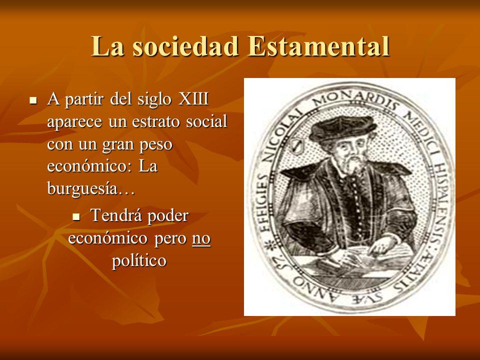 La sociedad Estamental A partir del siglo XIII aparece un estrato social con un gran peso económico: La burguesía… A partir del siglo XIII aparece un