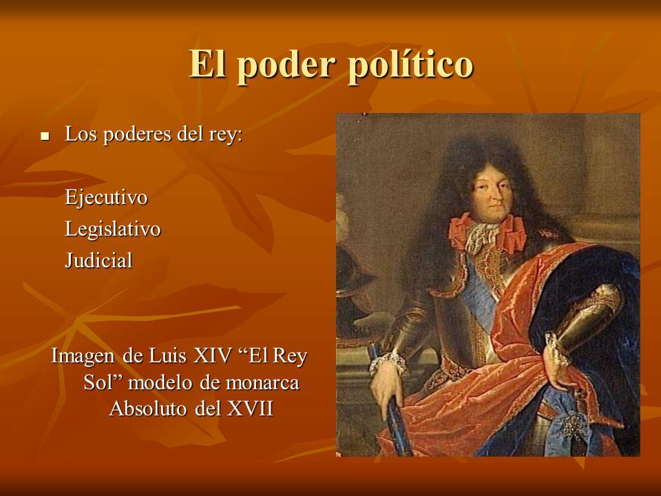 El poder político Los poderes del rey: Los poderes del rey:EjecutivoLegislativoJudicial Imagen de Luis XIV El Rey Sol modelo de monarca Absoluto del X