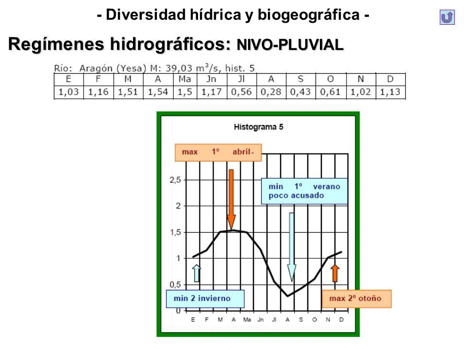 - Diversidad hídrica y biogeográfica - Regímenes hidrográficos: NIVO-PLUVIAL