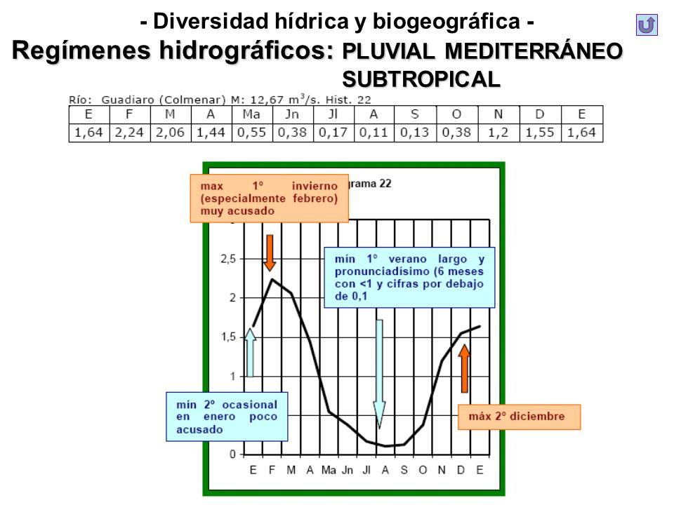 - Diversidad hídrica y biogeográfica - Regímenes hidrográficos: PLUVIAL MEDITERRÁNEO SUBTROPICAL