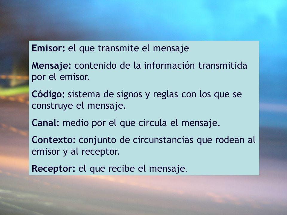 Emisor: el que transmite el mensaje Mensaje: contenido de la información transmitida por el emisor. Código: sistema de signos y reglas con los que se
