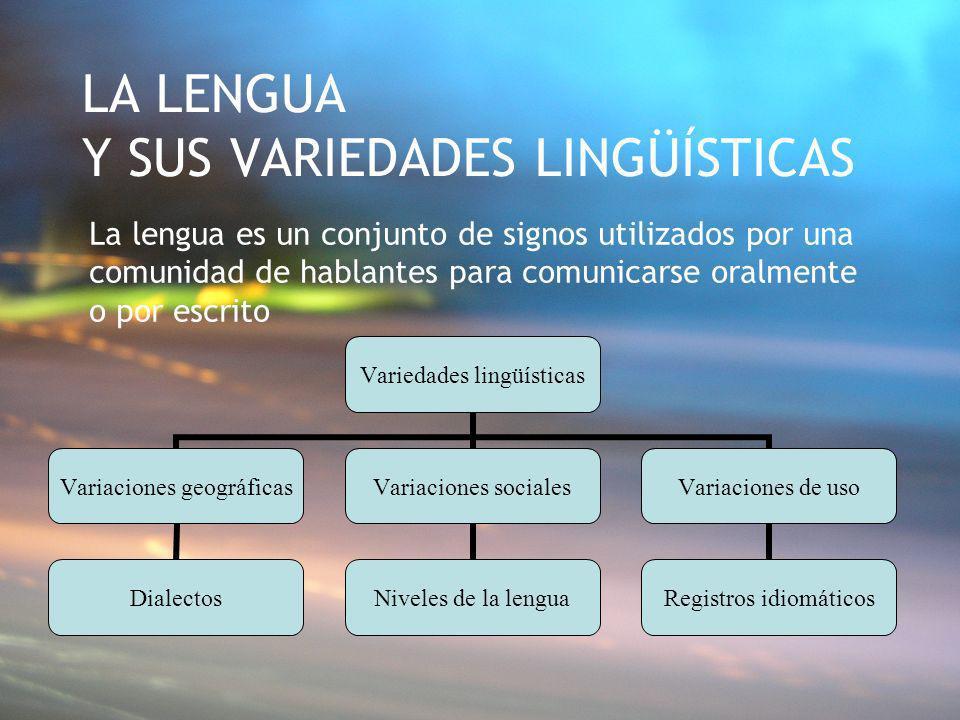 LA LENGUA Y SUS VARIEDADES LINGÜÍSTICAS La lengua es un conjunto de signos utilizados por una comunidad de hablantes para comunicarse oralmente o por