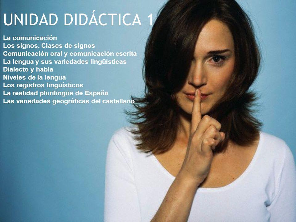 UNIDAD DIDÁCTICA 1 La comunicación Los signos. Clases de signos Comunicación oral y comunicación escrita La lengua y sus variedades lingüísticas Diale