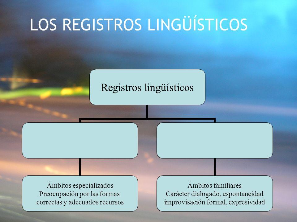 LOS REGISTROS LINGÜÍSTICOS Registros lingüísticos Ámbitos especializados Preocupación por las formas correctas y adecuados recursos Ámbitos familiares