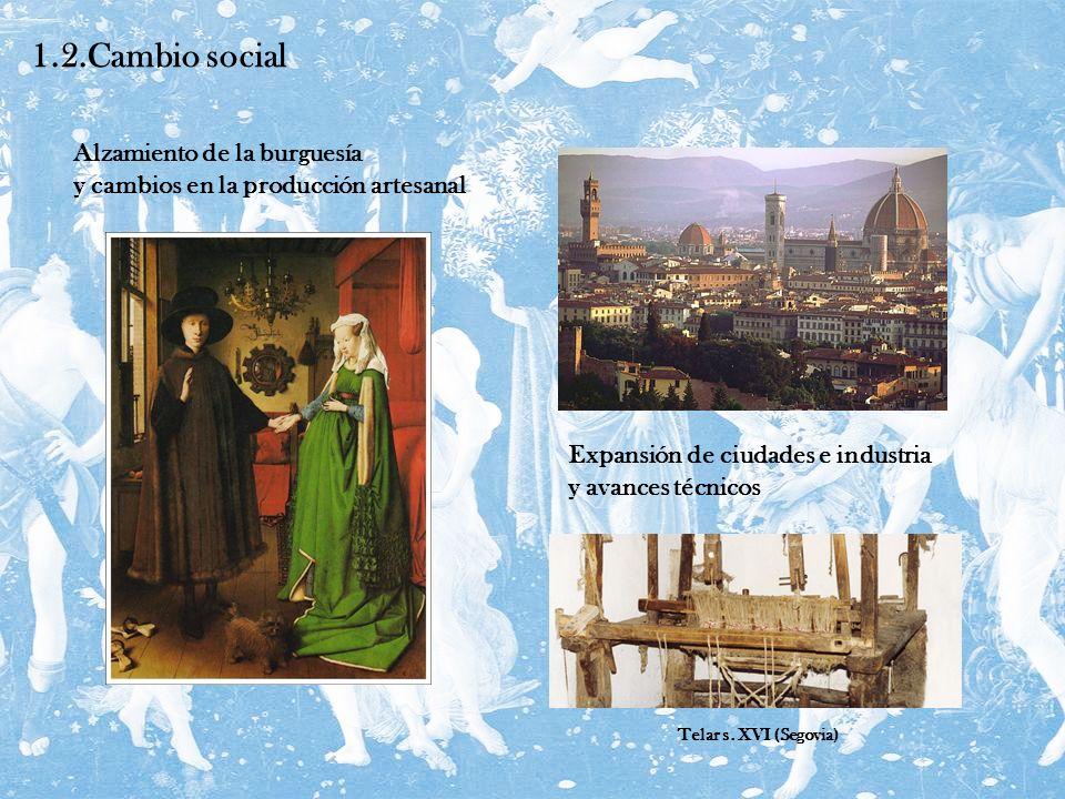 1.2.Cambio social Expansión de ciudades e industria y avances técnicos Alzamiento de la burguesía y cambios en la producción artesanal Telar s. XVI (S