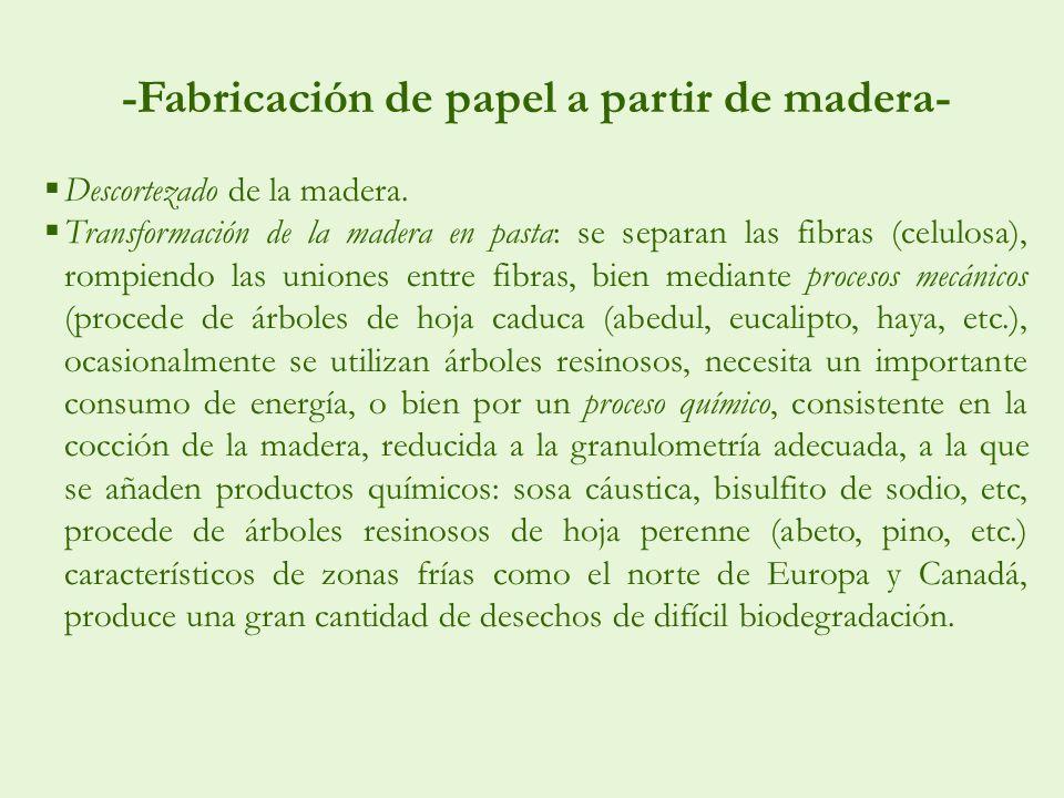 -Fabricación de papel a partir de madera- Descortezado de la madera. Transformación de la madera en pasta: se separan las fibras (celulosa), rompiendo