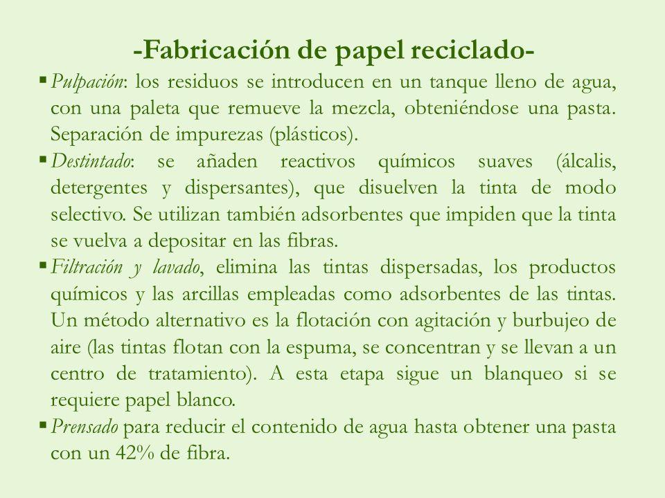 -Fabricación de papel reciclado- Pulpación: los residuos se introducen en un tanque lleno de agua, con una paleta que remueve la mezcla, obteniéndose