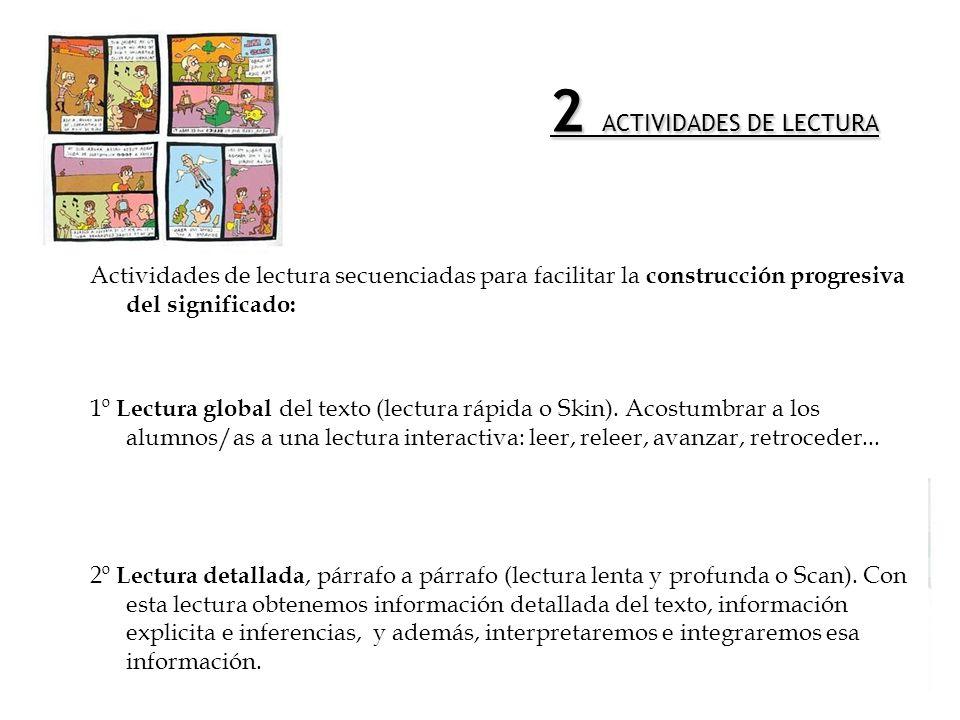 1 ACTIVIDADES PREVIAS A LA LECTURA 1º Propósito de la lectura del texto: Adquirir conocimientos sobre EL CÓMIC. 2º Activación de conocimientos previos