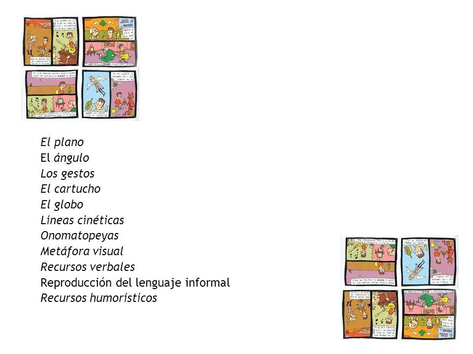 El plano El ángulo Los gestos El cartucho El globo Líneas cinéticas Onomatopeyas Metáfora visual Recursos verbales Reproducción del lenguaje informal Recursos humorísticos