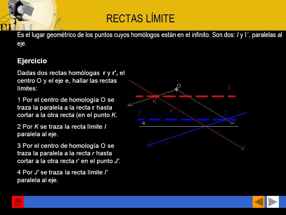 Ejercicio Hallar el homólogo B' de B, conociendo el centro O, el eje e y un par de puntos homólogos A y A'. 1 Se unen los puntos A y B mediante la rec