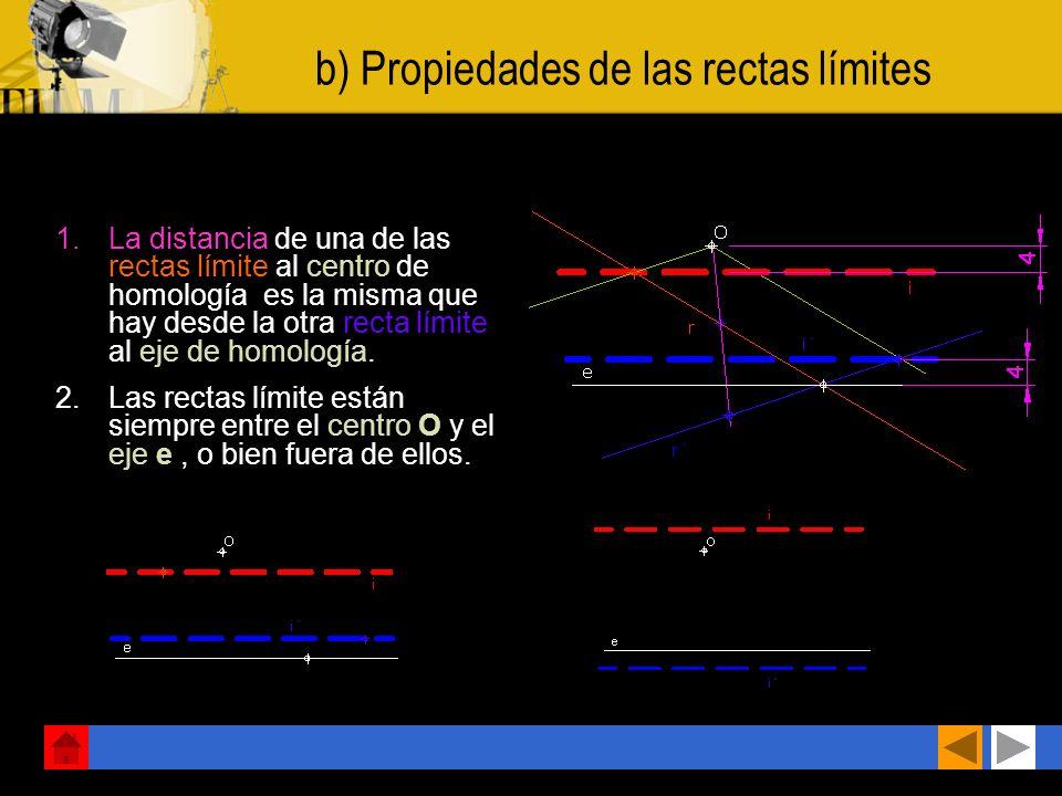 a) Propiedades de las rectas límites Todas las rectas que se cortan en un mismo punto P de la recta límite) tienen sus homólogas. paralelas a OP.