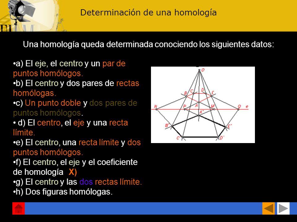 b) Propiedades de las rectas límites 1.La distancia de una de las rectas límite al centro de homología es la misma que hay desde la otra recta límite