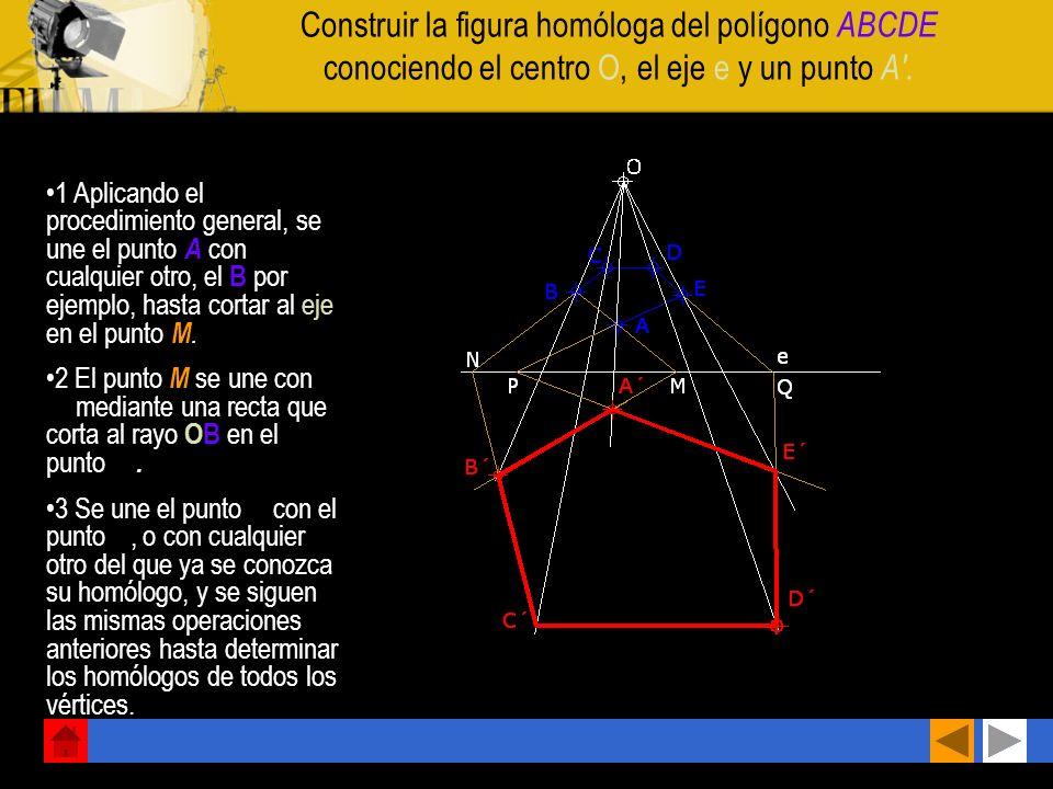 Hallar el homólogo A' de un punto A conociendo el centro de homología O, el eje e y la recta límite l 1 Se traza una recta r cualquiera que pase por A