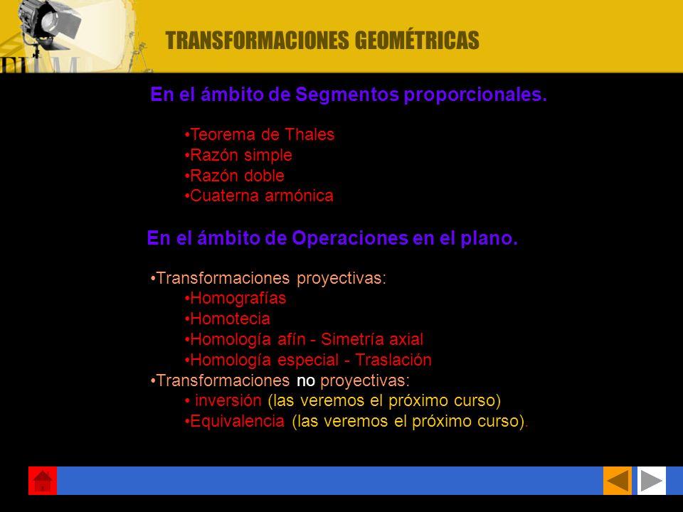 objetivos: Contactar con la geometría proyectiva como ampliación de la conocida g. euclediana. Realizar transformaciones en el plano, tales como la ho