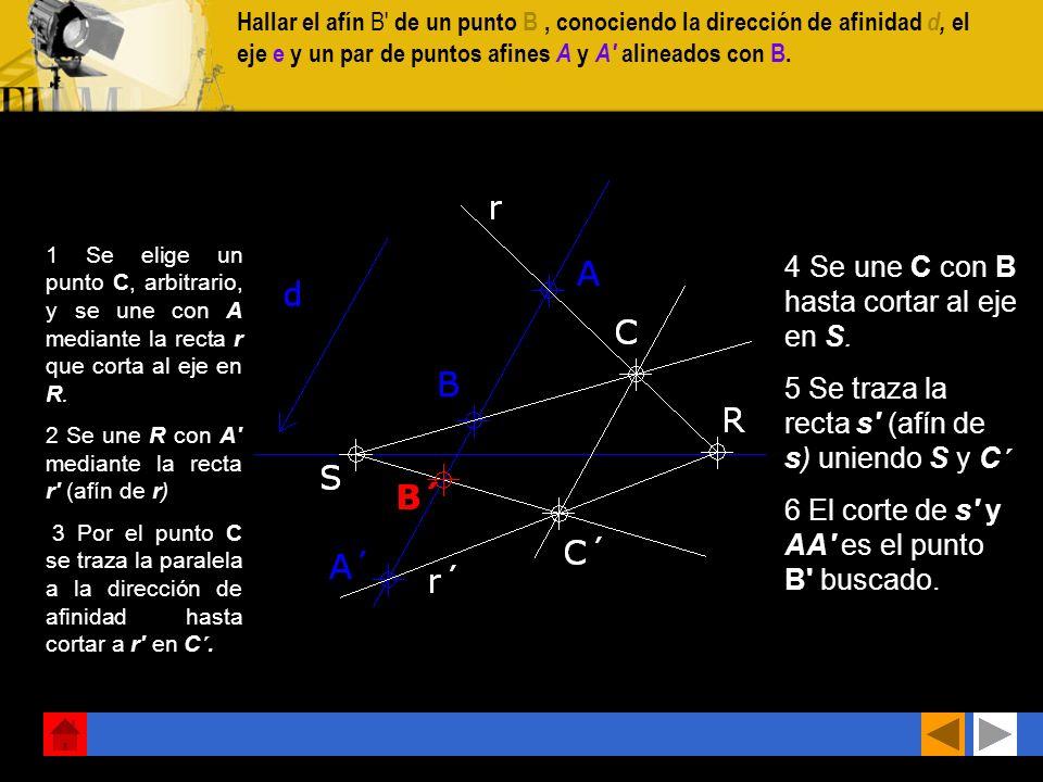 CONSTRUCCiÓN DE FIGURAS AFINES Construir la figura afín del polígono ABCDE conociendo la dirección d de afinidad, el eje e y un punto afín A'. 1 Aplic