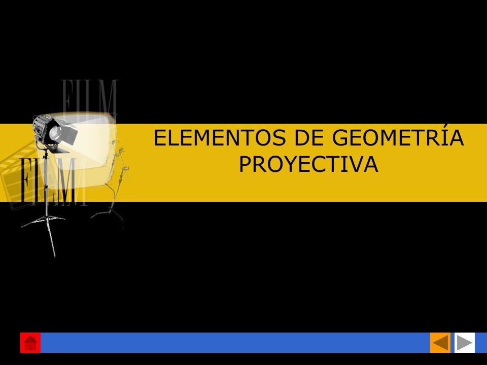 La GEOMETRÍA PROYECTIVA observa las propiedades que se conservan en una proyección. EJEMPLO: Si desde un punto trazamos rectas que unan puntos rectas