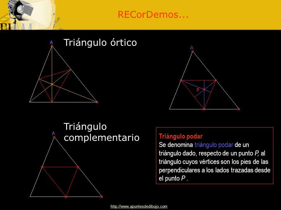 http://www.apuntesdedibujo.comapuntesdedibujo 4 Polígonos 4 Dibujo Técnico 2.º BACHILLERATO Otros triángulos y rectas notables: triángulos órtico, com