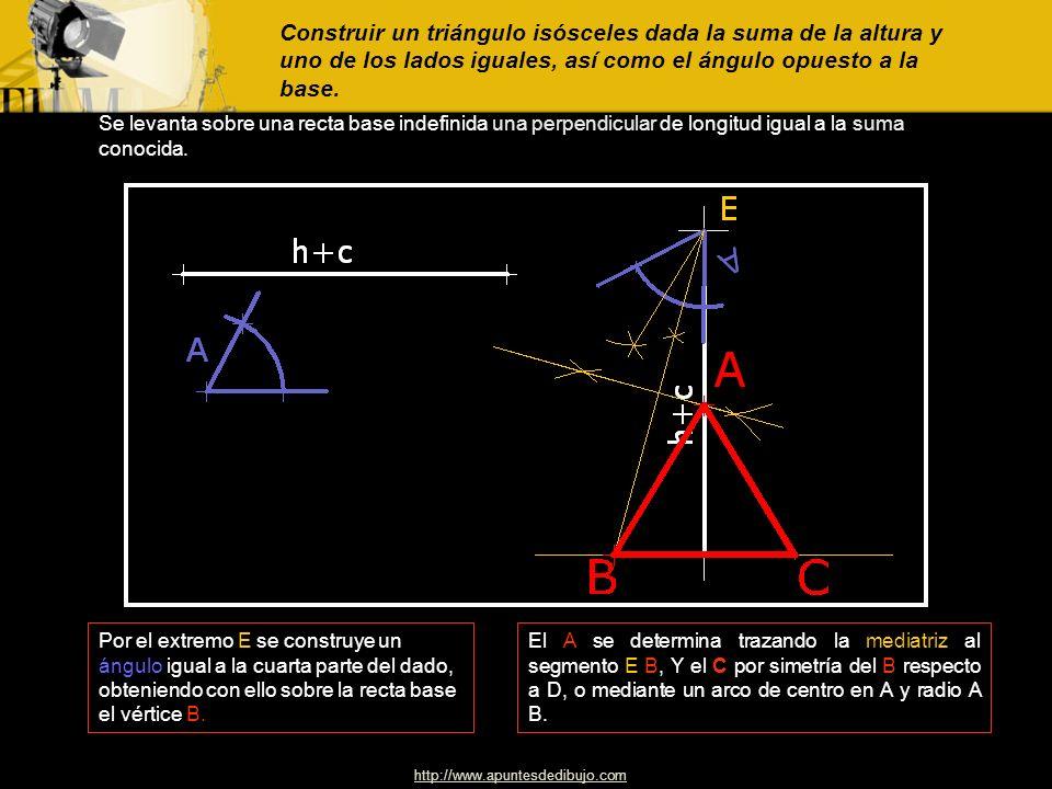 http://www.apuntesdedibujo.com Construir un triángulo isósceles conociendo los lados iguales y el ángulo comprendido entre los mismos. Con centro en e