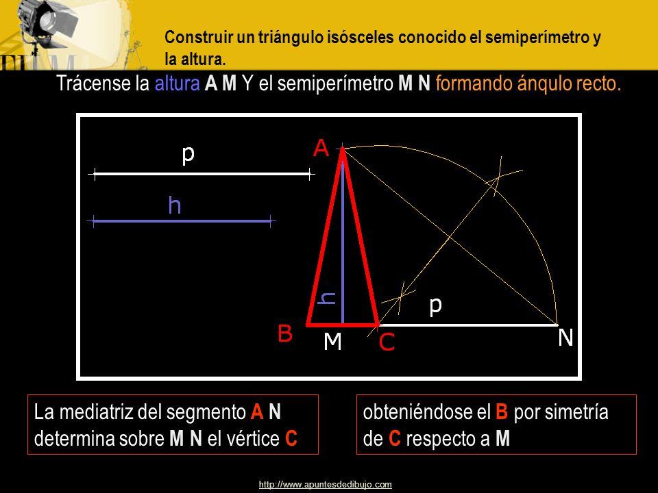 http://www.apuntesdedibujo.com Construir un triángulo isósceles dada la suma de la altura y uno de los lados iguales, así como el ángulo opuesto a la