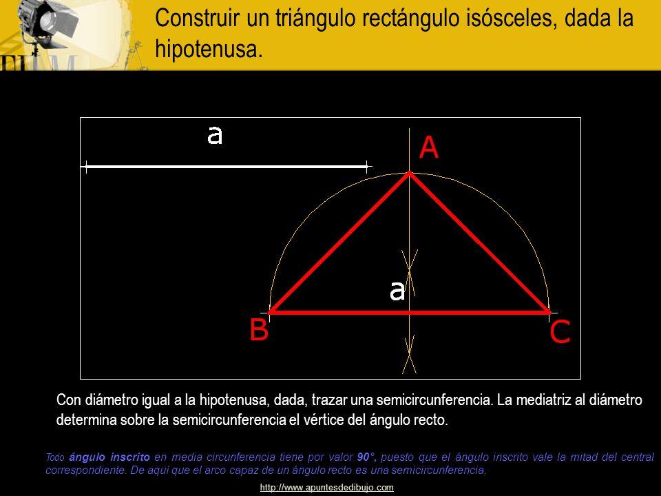 http://www.apuntesdedibujo.com Construir un triángulo isósceles conocido el semiperímetro y la altura. Trácense la altura A M Y el semiperímetro M N f