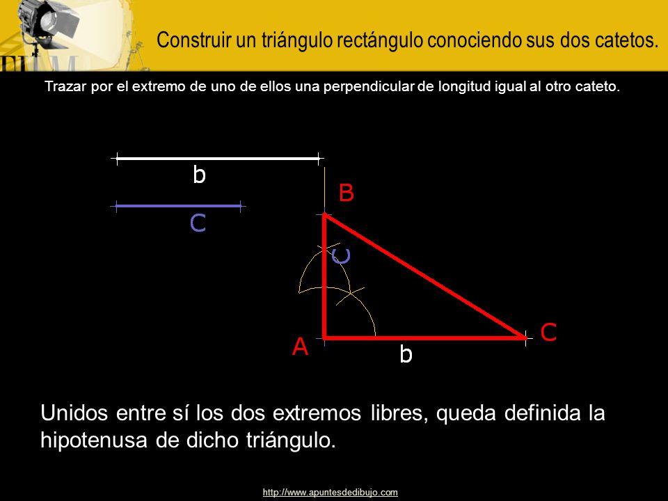 http://www.apuntesdedibujo.com Construir un triángulo rectángulo isósceles, dada la hipotenusa. Con diámetro igual a la hipotenusa, dada, trazar una s