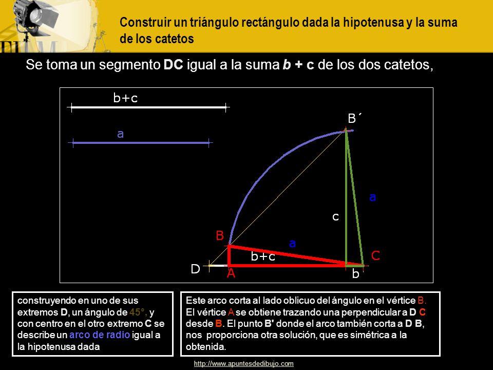 http://www.apuntesdedibujo.com Construir un triángulo rectángulo conociendo sus dos catetos. Trazar por el extremo de uno de ellos una perpendicular d