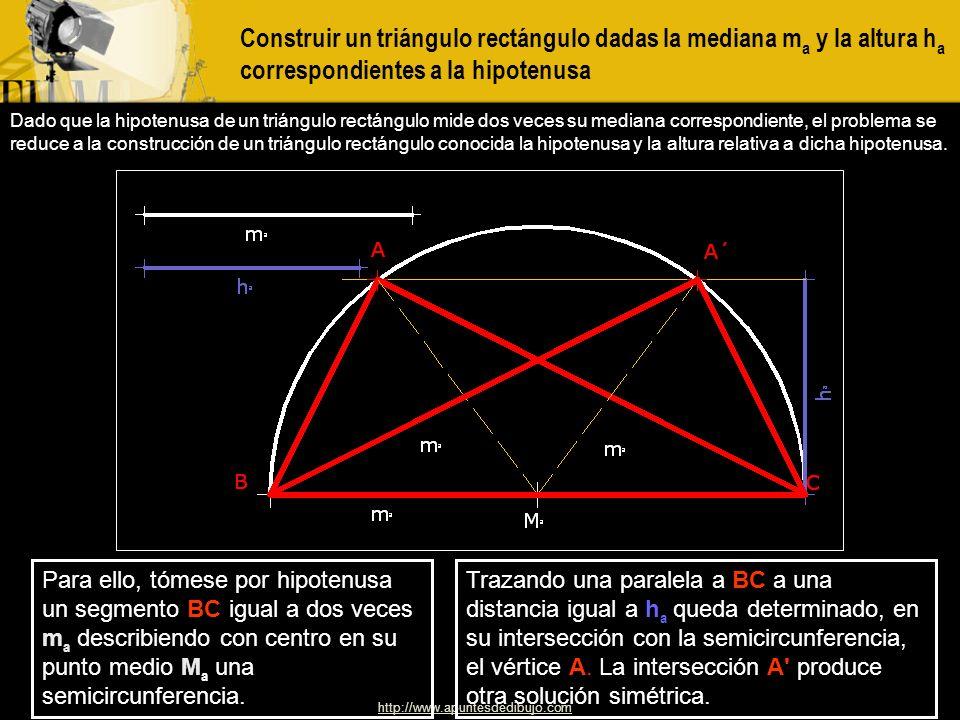 http://www.apuntesdedibujo.com Construir un triángulo rectángulo dada la hipotenusa y la suma de los catetos Se toma un segmento DC igual a la suma b