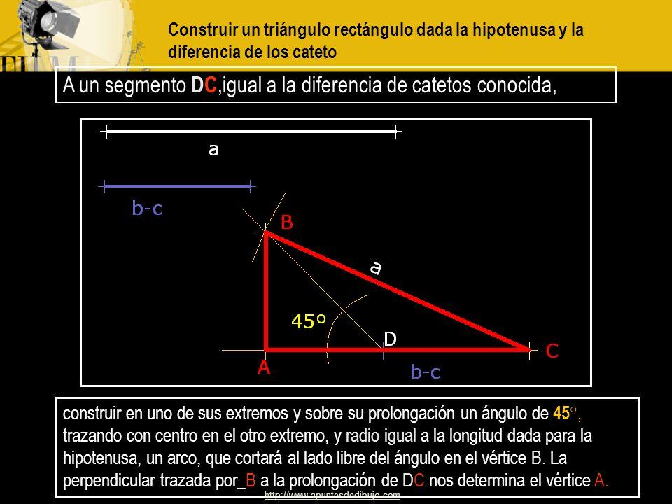 http://www.apuntesdedibujo.com Construir un triángulo rectángulo dadas la mediana m a y la altura h a correspondientes a la hipotenusa Dado que la hip