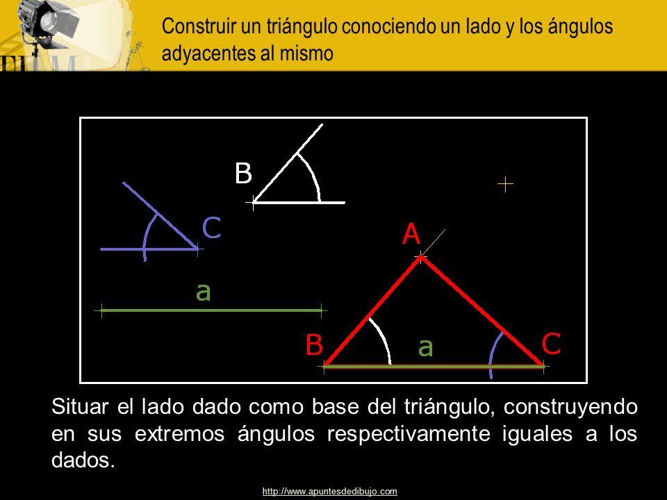 http://www.apuntesdedibujo.com Construir un triángulo rectángulo dada la hipotenusa y la diferencia de los cateto A un segmento DC,igual a la diferenc